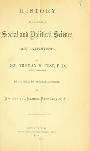 Cover of: History as a teacher of social and political science
