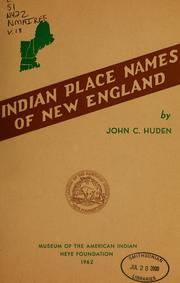 Cover of: Indian place names of New England