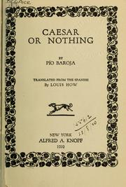 Cover of: Caesar or nothing | PГ­o Baroja