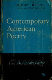 Cover of: Contemporary American poetry