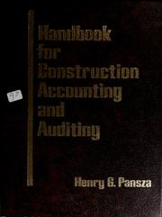 Cover of: Handbook for construction accounting and auditing | Henry G. Pansza