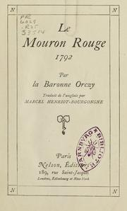 Cover of: Le mouron rouge: 1792