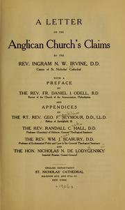 A letter on the Anglican church's claims