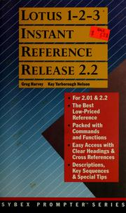 Cover of: Lotus 1-2-3 instant reference, release 2.2