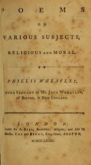Cover of: Poems on various subjects, religious and moral