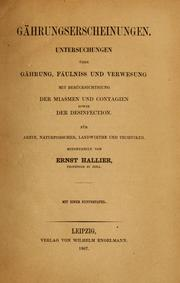 Cover of: Gährungserscheinungen