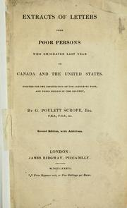 Cover of: Extracts of letters from poor persons who emigrated last year to Canada and the United States