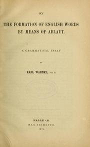 Cover of: On the formation of English words by means of Ablaut