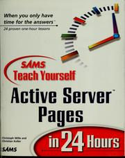 Cover of: Sams teach yourself active server pages in 24 hours | Christoph Wille