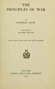 Cover of: The principles of war