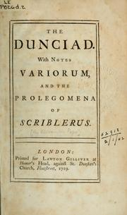 Cover of: The Dunciad