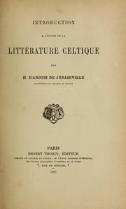 Cover of: Introduction a l'etude de la litterature celtique