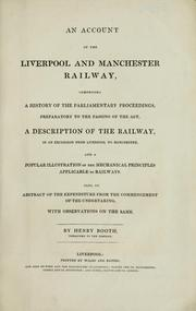 Cover of: An account of the Liverpool and Manchester Railway