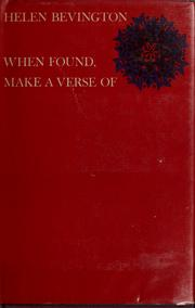 Cover of: When found, make a verse of