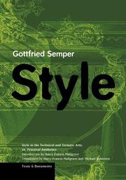 Cover of: Style in the Technical and Tectonic Arts; or, Practical Aesthetics (Texts & Documents)