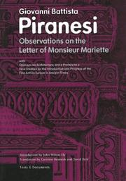 Cover of: Observations on the Letter of Monsieur Mariette (Texts & Documents)