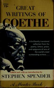 Cover of: Great writings of Goethe