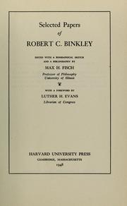 Cover of: Selected papers of Robert C. Binkley by Robert C. Binkley