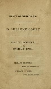 Cover of: State of New York, in Supreme Court | Seth Williston Benedict