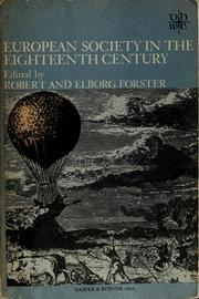 Cover of: European society in the eighteenth century