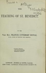 Cover of: The teaching of St. Benedict