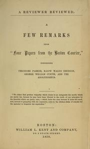 "Cover of: A few remarks upon ""Four papers from the Boston Courier"" concerning Theodore Parker, Ralph Waldo Emerson, George William Curtis, and the abolitionists ..."