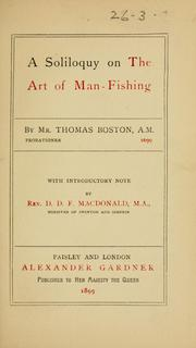 Cover of: A soliloquy on the art of man-fishing