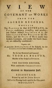 Cover of: A view of the covenant of works from the sacred records