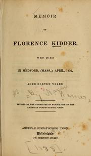 Cover of: Memoir of Florence Kidder | Aaron Warner