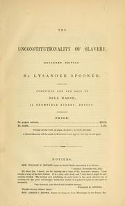 Cover of: The unconstitutionality of slavery