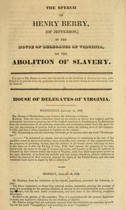 Cover of: The speech of Henry Berry