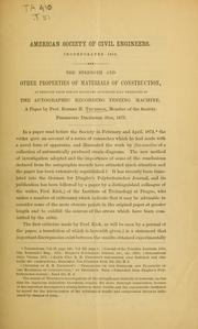 Cover of: The strength and other properties of materials of construction as deduced from strain diagrams automatically produced by the autographic recording testing manchine