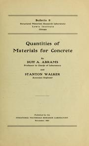 Cover of: Quantities of materials for concrete