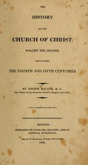 Cover of: The history of the church of Christ