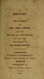 Cover of: A discourse at the funeral of Mrs. Emily Jewett
