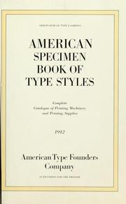 Cover of: American specimen book of type styles | American Type Founders Company.