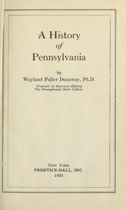 Cover of: A history of Pennsylvania