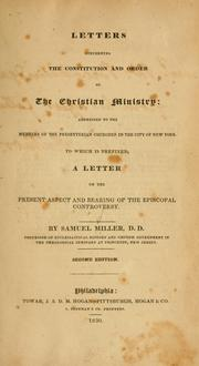 Cover of: Letters concerning the constitution and order to the Christian      Ministry