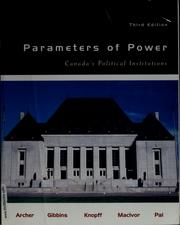 Cover of: Parameters of power | Keith Archer