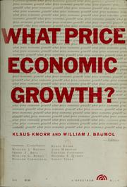 Cover of: What price economic growth?