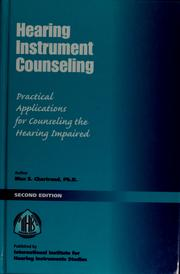 Cover of: Hearing instrument counseling