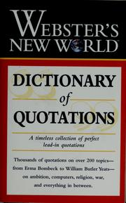 Cover of: Webster's New World dictionary of quotations