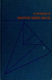 Cover of: An introduction to quantitative business analysis | Ira Horowitz