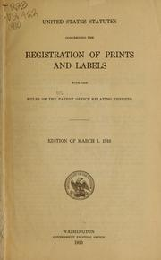 Cover of: United States statutes concerning the registration of prints and labels | United States
