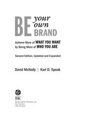 Be Your Own Brand by David McNally; Karl D Speak