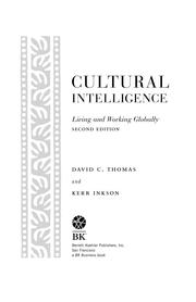 Cultural Intelligence by David C Thomas; Kerr Inkson