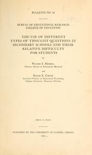 Cover of: The use of different types of thought questions in secondary schools and their relative difficulty for students