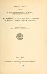 Cover of: The constant and variable errors of educational measurements