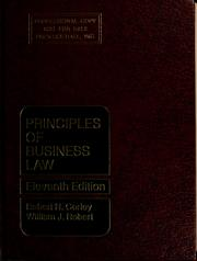 Cover of: Principles of business law | Robert Neil Corley