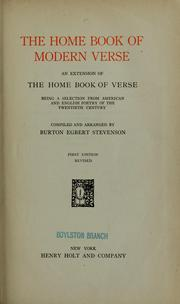 Cover of: The home book of modern verse by Stevenson, Burton Egbert